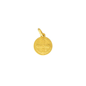 14K Gold Yellow St Benedict Protector Pendant with Ring
