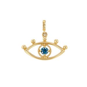 14K Yellow Gold Diamond Eye Charm For Necklace or Bracelet