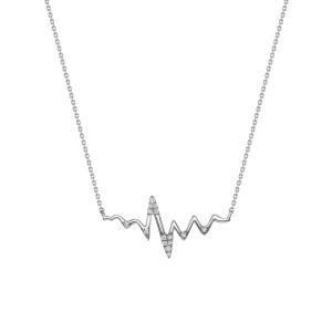 Diamond Heartbeat Necklace 14K White Gold