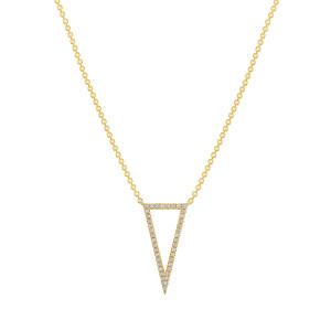 Diamond Open Triangle Pendant Necklace 14K Yellow Gold