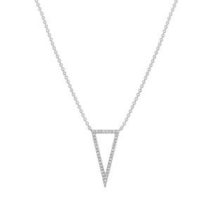Diamond Open Triangle Pendant Necklace 14K  White Gold