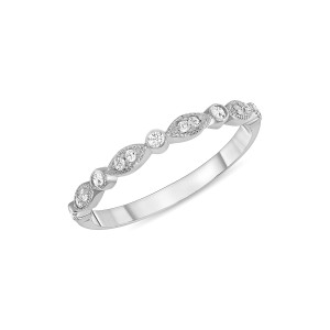 Marquise and Dot Diamond Engagement Band 14K White Gold