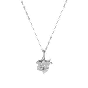 Diamond Cicadas Charm Necklace 14K White Gold