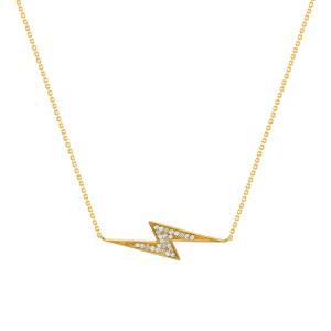 Lightning Bolt Diamond Necklace 14K Yellow Gold
