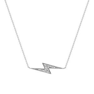 Lightning Bolt Diamond Necklace 14K White Gold