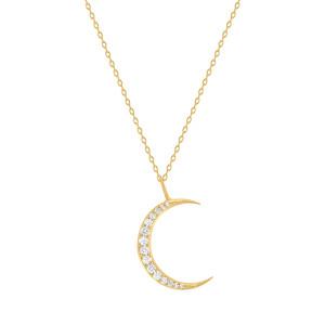 Diamond Moon Necklace 14K Yellow Gold