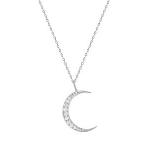 Diamond Moon Necklace 14K White Gold