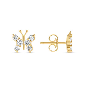 Diamond Butterfly Stud Earring 14K Yellow Gold