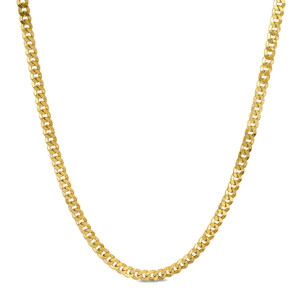 14K yellow gold hollow cuban curb Chain necklace with lobster clasp
