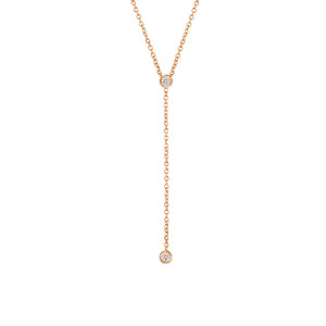 Diamond Bezel Lariat Necklace in 14K Rose Gold