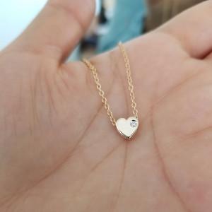 Single Diamond Heart Necklace 14K Gold