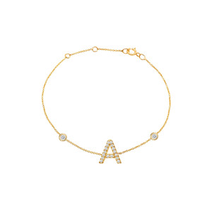 Diamond Initial with Two Bezels Bracelet 14K Yellow Gold
