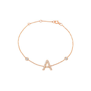 Diamond Initial with Two Bezels Bracelet 14K Rose Gold