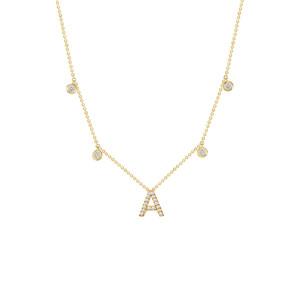 Drop Bezel Diamond with Diamond Initial Necklace 14K Gold