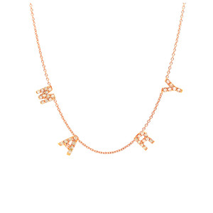 Mini Diamond Initial Spaced Necklace Rose Gold