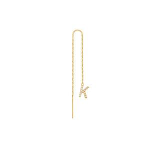 Diamond Initial Threader Earring 14K Gold