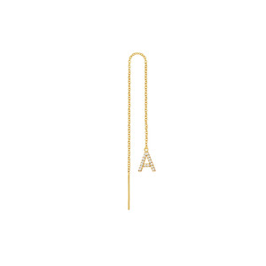 Diamond Initial Threader Earring 14K Yellow Gold