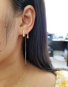 Diamond Huggie Flat Bar Hoop Earring 14K Yellow Gold