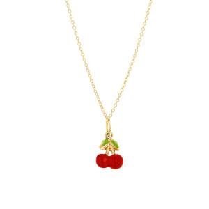 Enamel Cherry Charm Necklace 14K Yellow Gold