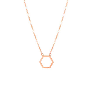 Open Hexagon Charm Necklace 14K Gold