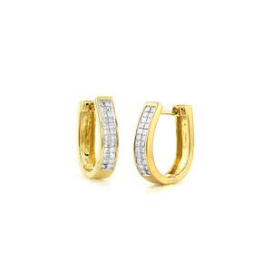 Princess Cut Diamond Hoop Earrings 14K Yellow Gold