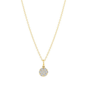 Mini Diamond Disc Charm Necklace 14K Yellow Gold