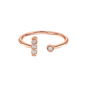 Diamond Bar With Bezel Cuff Ring 14K Rose Gold