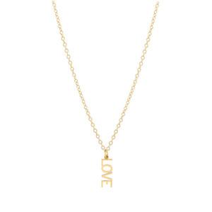 Letter Love Charm Necklace 14K Gold
