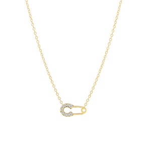 Diamond Safety Pin Necklace 14K Yellow Gold