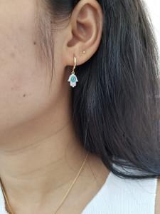 Diamond Hamsa Hoop Earrings 14K Gold