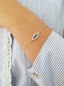 London Blue Topaz and Diamond Evil Eye Bracelet 14K Gold