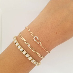 Paper Clip  Chain Bracelet with Diamond Safety Pin