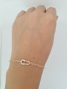 Paper Clip  Chain with Diamond Safety Pin Charm Bracelet 14K Gold