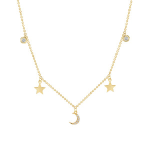 Bezel Diamond with Moon and Star Necklace 14K Gold