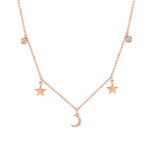 Moon and Star Necklace 14K Gold