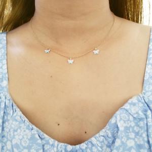 Dangling Enamel Butterfly Necklace 14K Gold