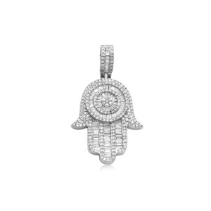 Baguette Diamond Hamsa Pendant 14K Gold