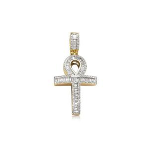 Diamond Baguette Cross Ankh Pendant 14K Yellow Gold
