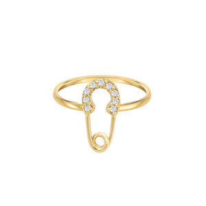 Diamond Safety Pin Ring 14K Yellow Gold