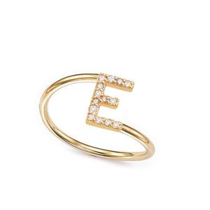 Diamond Initial Ring 14K Gold