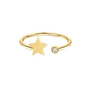 Star With Diamond Bezel Cuff Ring 14K Gold