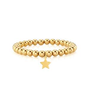 Star With Bead Stretch Bracelet 14k Yellow Gold