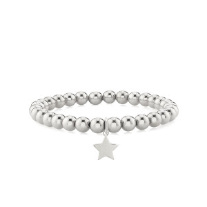 Star With Bead Stretch Bracelet 14k White Gold
