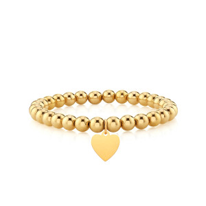 Heart With Bead Stretch Bracelet 14k Yellow Gold