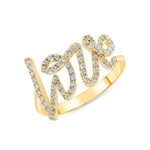 Diamond Love Ring 14K Yellow Gold