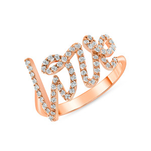 Diamond Love Ring 14K Yellow Rose Gold
