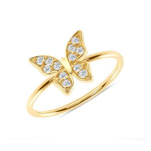 Diamond Butterfly Ring 14K Yellow Gold