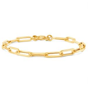 Paper Clip Link Chain Bracelet 14K Yellow Gold