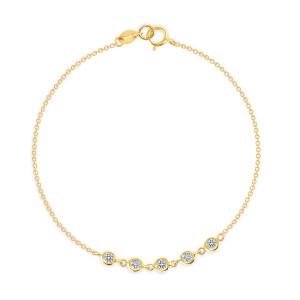 5 Bezel Diamond Link Bracelet 14K Gold
