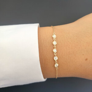 5 Bezel Diamond Link Bracelet 14K Yellow Gold
